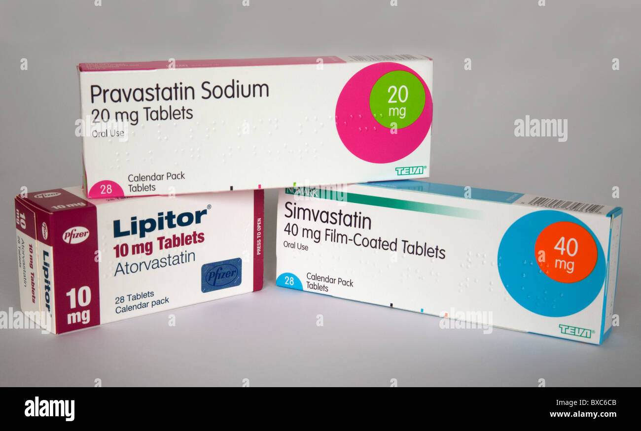 Three different types of statins available in the UK, Atorvastatin, Pravastatin and Simvastatin Stock Photo