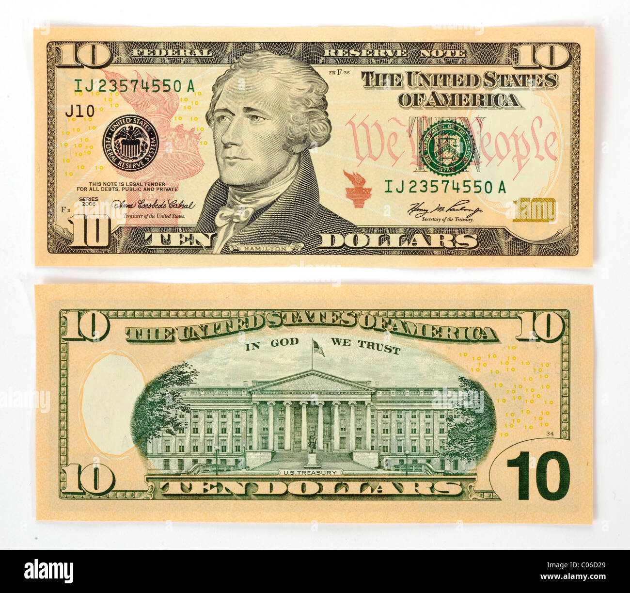 10 U S Dollar Banknote Front And Back Stock Photo