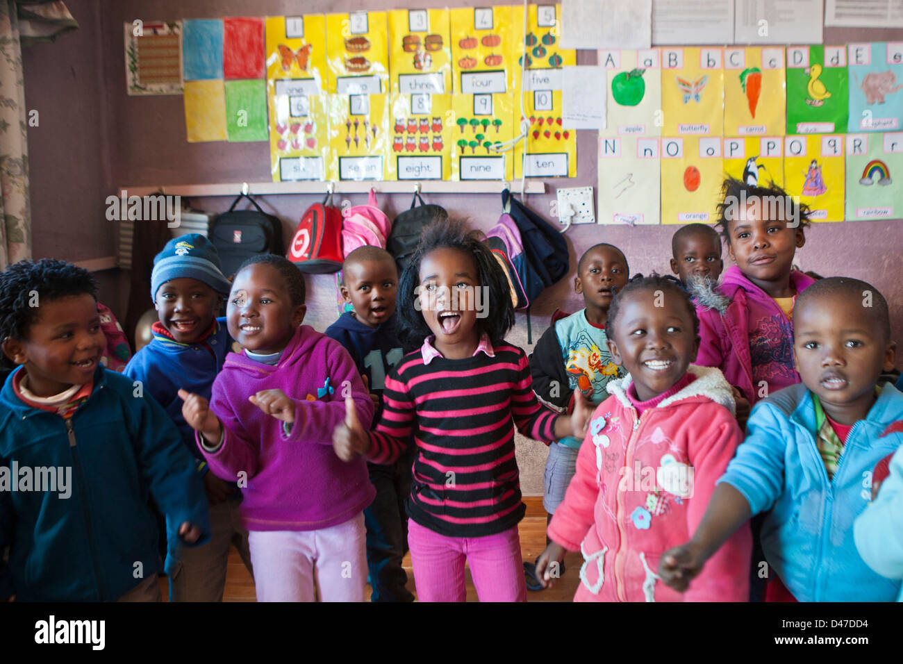 Young South African Children Dance And Sing In An Early