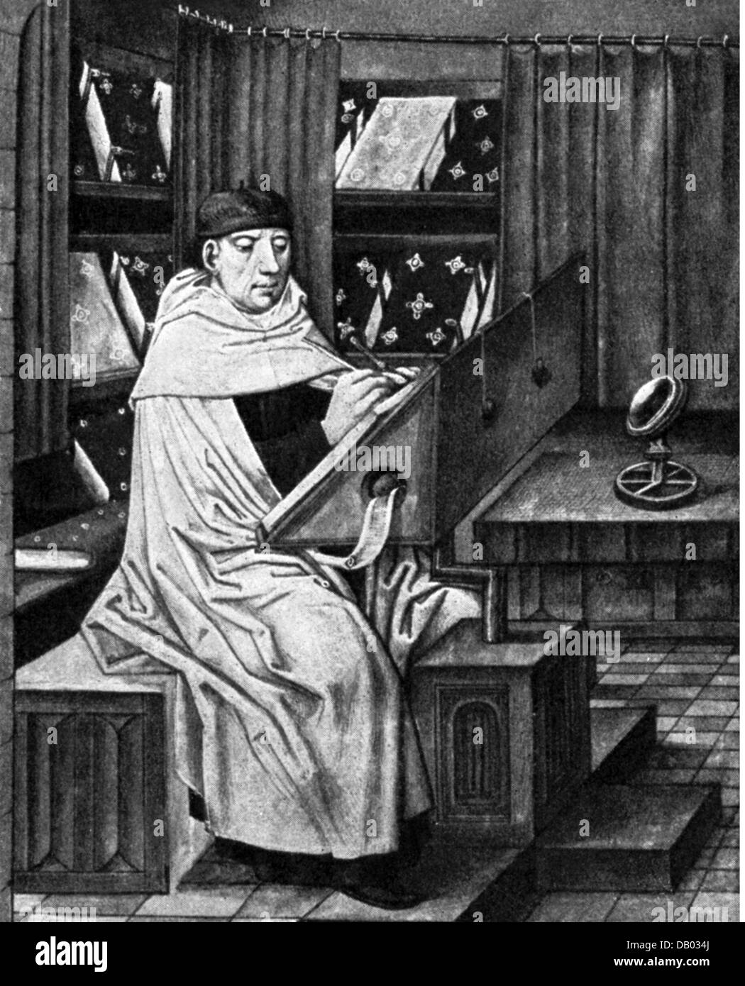 Middle Ages People Scholar In A Library Flemish