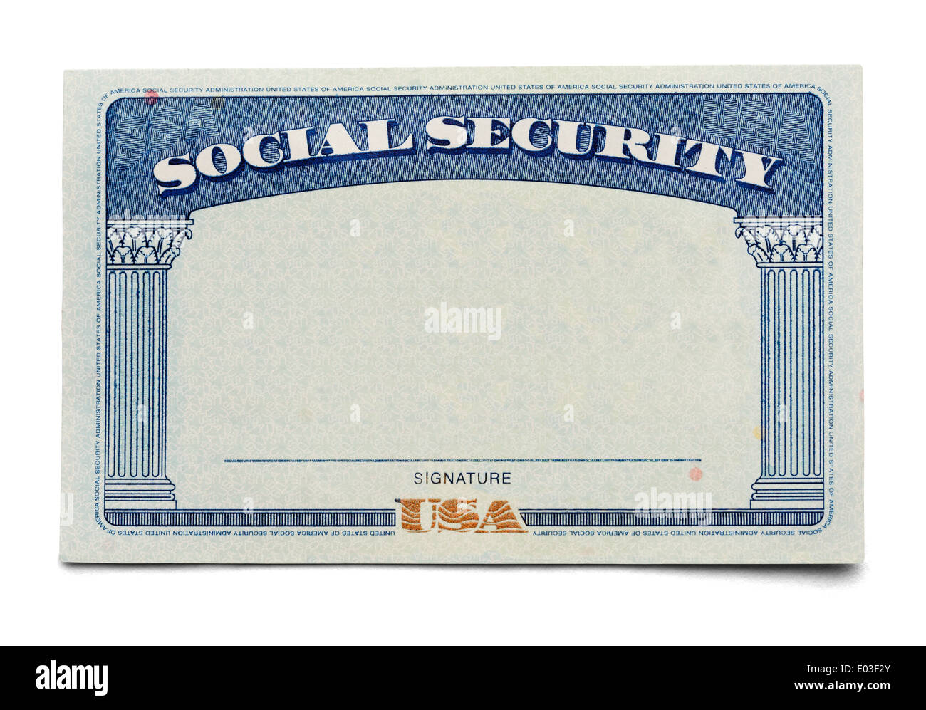 Blank Social Security Card Isolated On A White Background Stock Photo