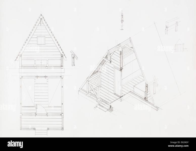 architectural blueprint of house with attic  drawn by hand Stock     architectural blueprint of house with attic  drawn by hand