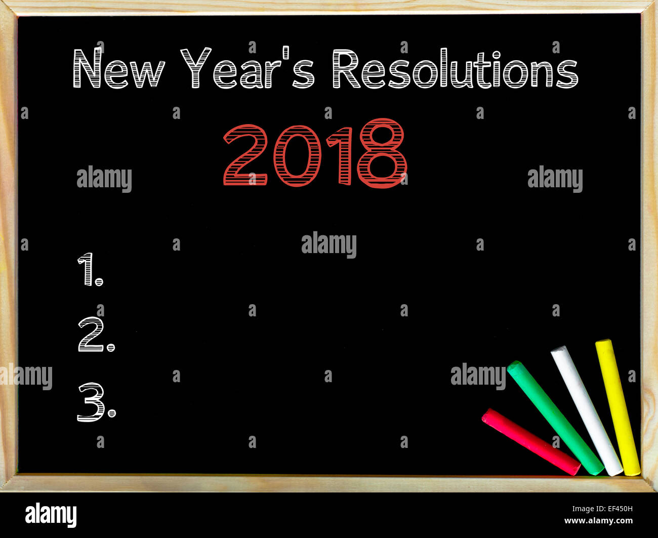 New Years Resolutions Vintage Chalk Text On Blackboard Colored Stock Photo Royalty Free