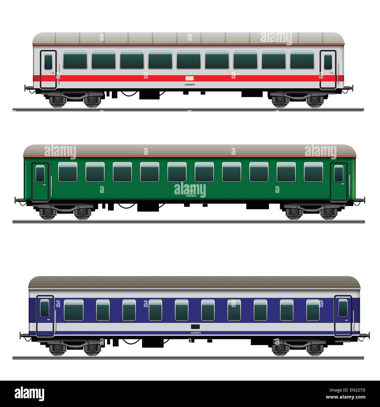 Passenger Train Cars Detailed Vector Illustration Stock