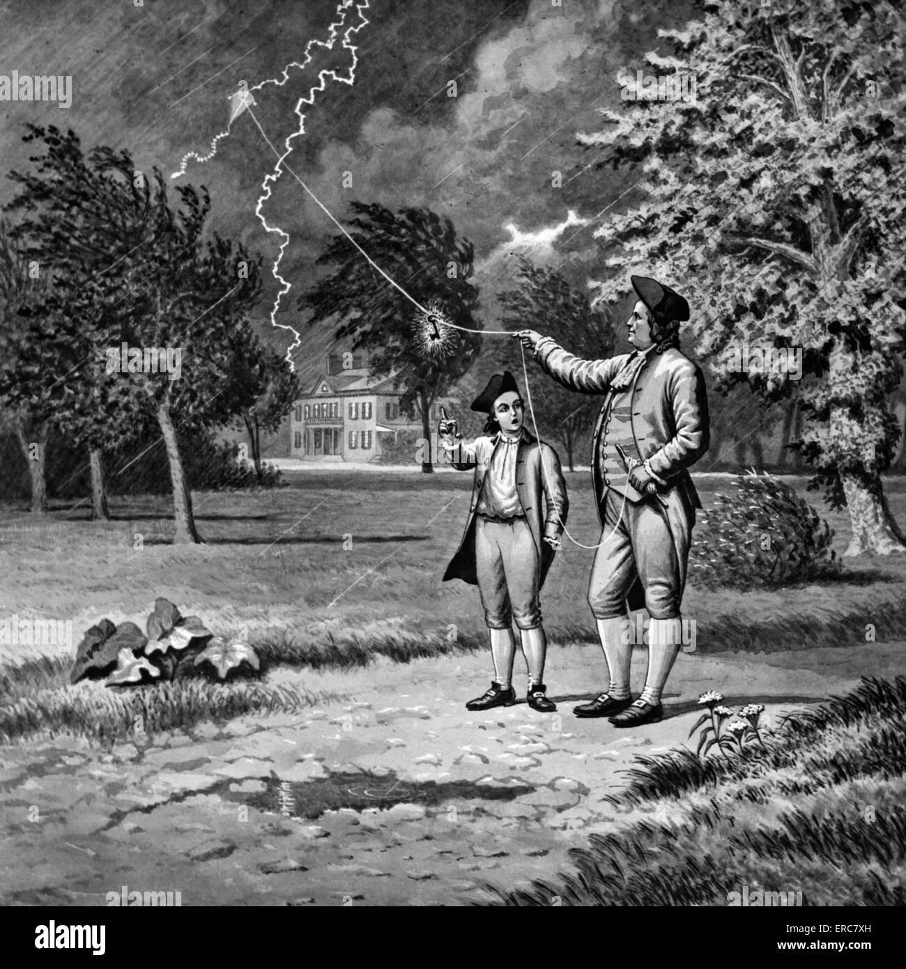 S Benjamin Franklin Kite And Key Electricity