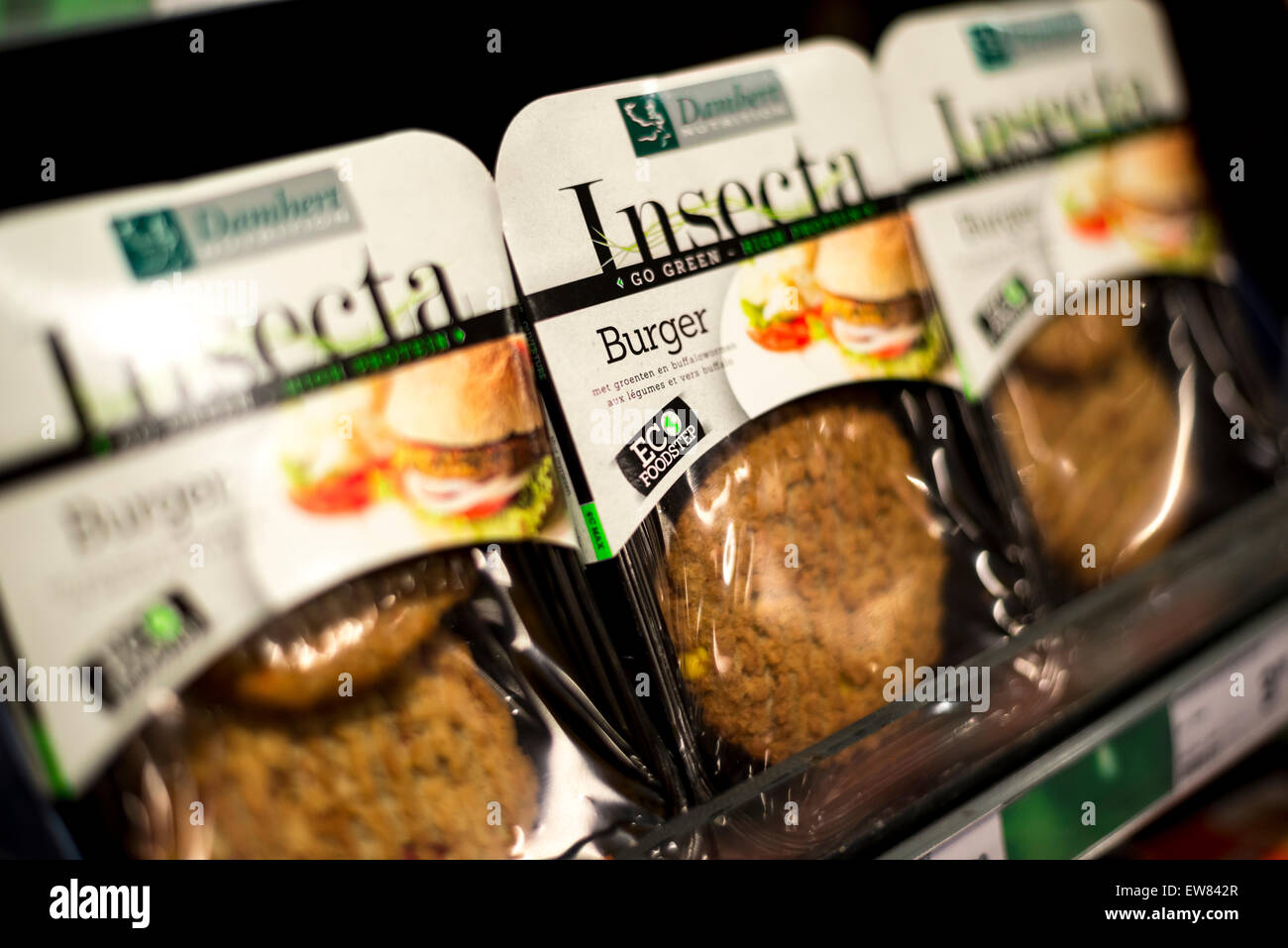 Rich in protein and low in fat, Insect Burgers on sale at Jumbo supermarkets in 400 stores across the Netherlands, Stock Photo