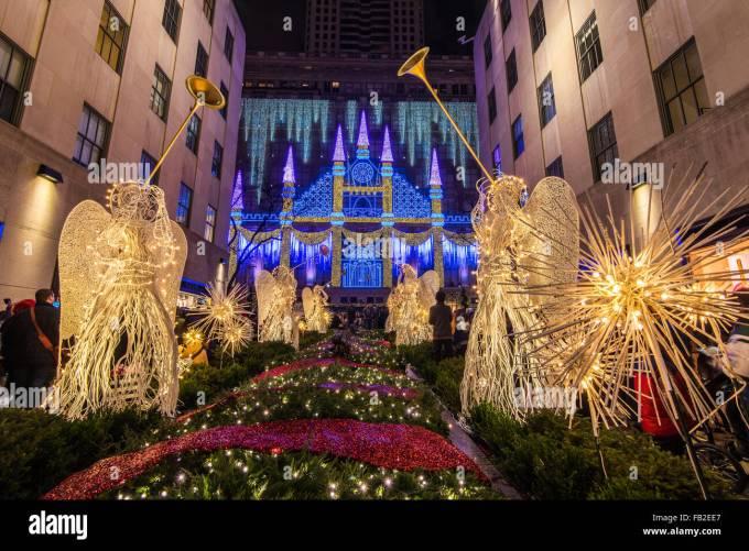christmas angels at rockefeller center channel gardens with saks - Rockefeller Christmas Show