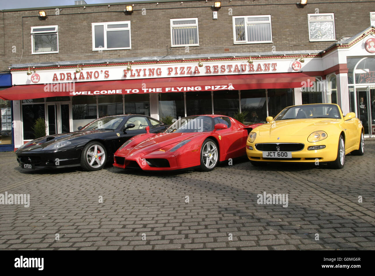 Ferrari 575M Maranello F1, Ferrari Enzo & Maserati Cambiocorsa at the Flying Pizza, Leeds. Stock Photo