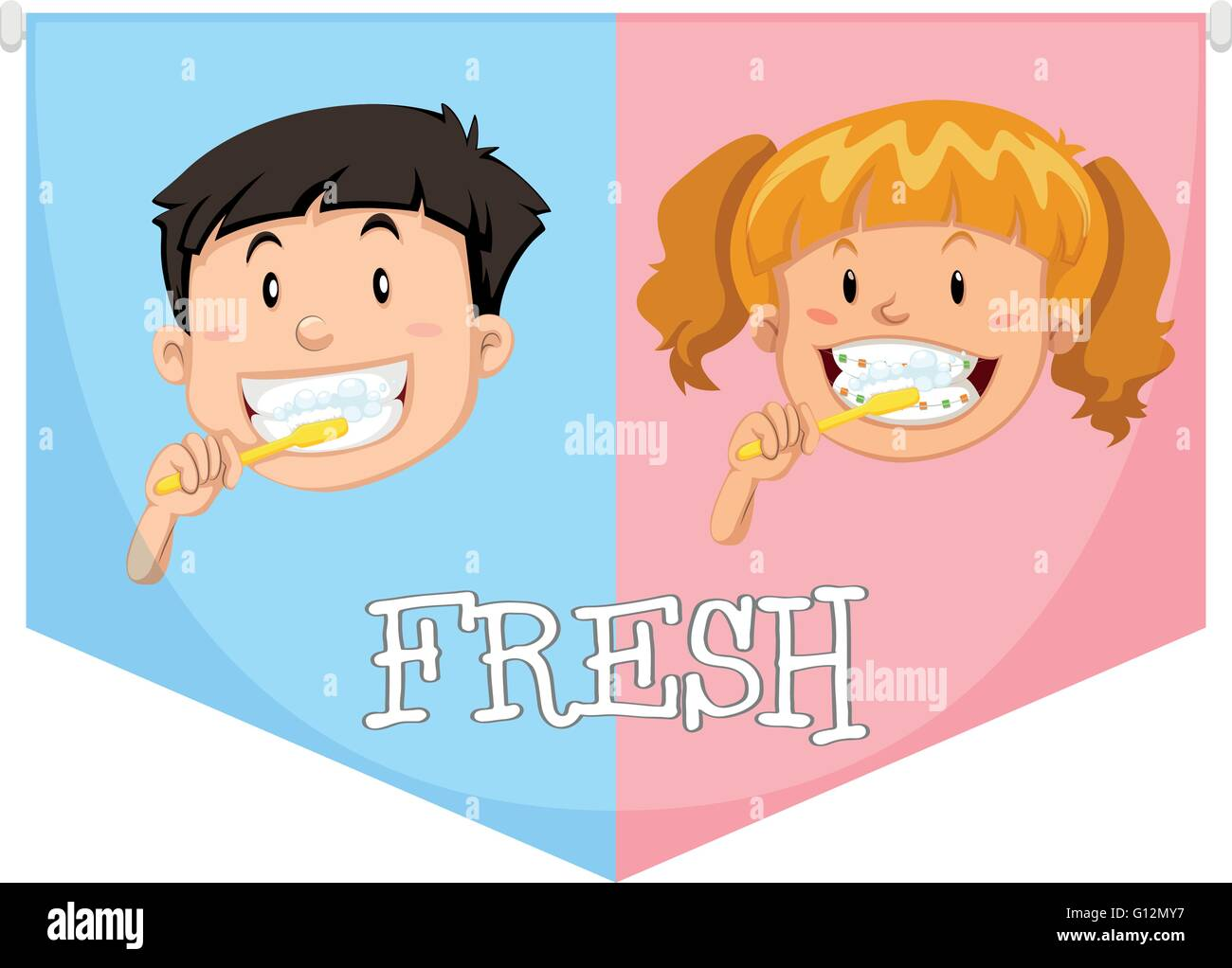 Boy and girl brushing teeth illustration Stock Vector Art     Boy and girl brushing teeth illustration