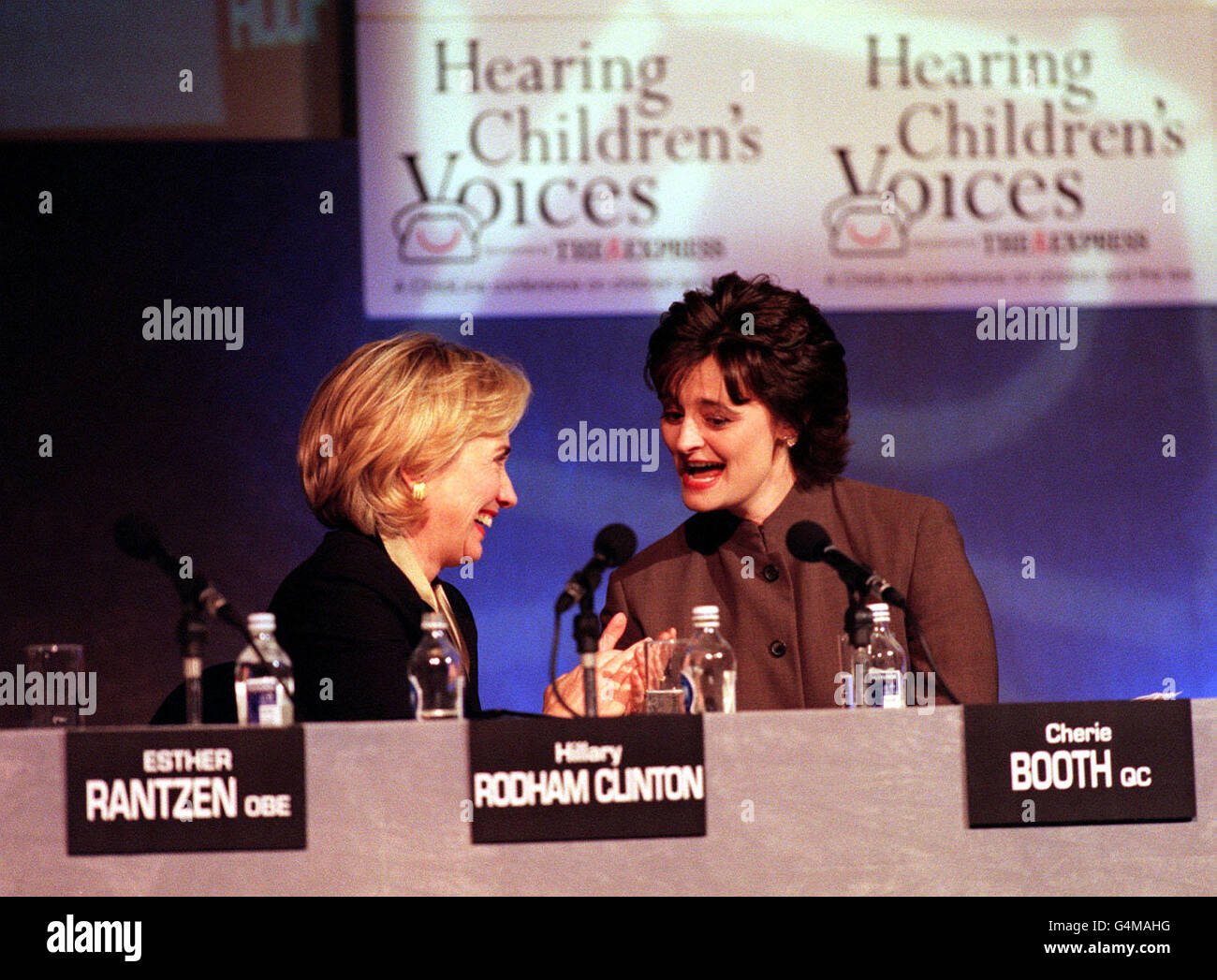ChildLine/Clinton & Blair laugh Stock Photo