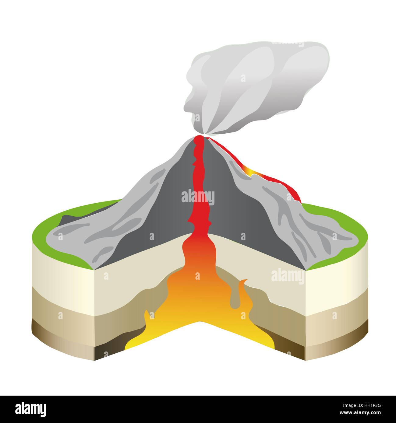 Volcano Eruption Cross Section Isolated Vector Info