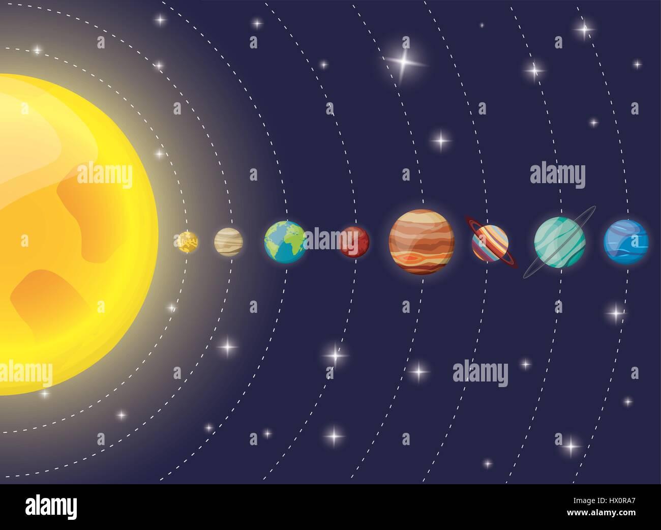 Solar System Planets Sun Diagram Stock Vector Art