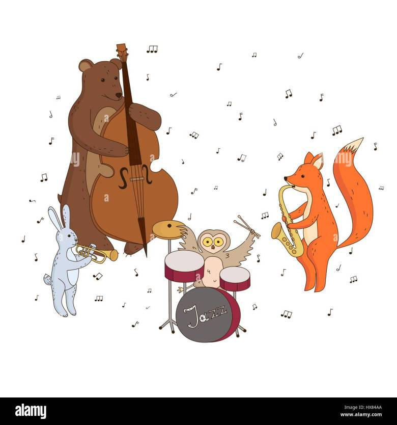 cute forest animals playing musical instruments. music group, jazz