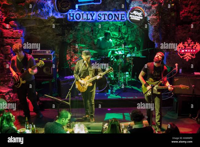 Antalya, Turkey - March 31,2017: Turkish band Pilli Bebek, performs live on stage during a concert. Stock Photo