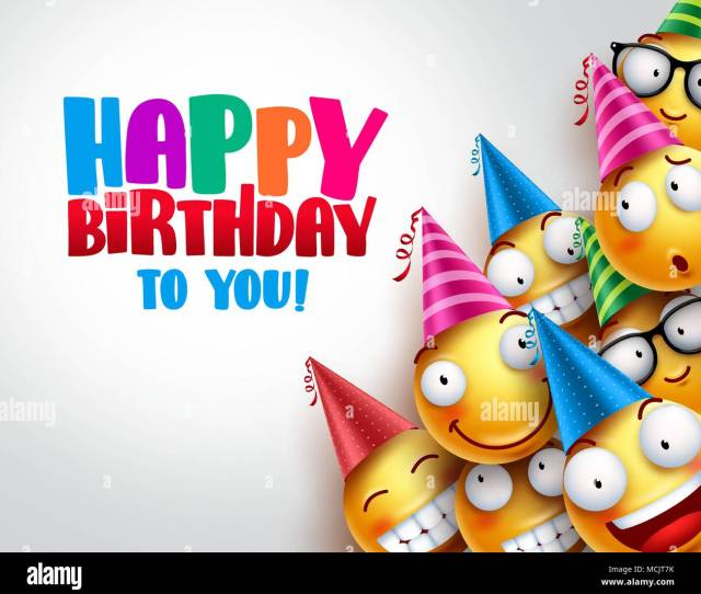 Birthday Smileys Vector Background Design With Yellow Funny And Happy Emoticons Wearing Colorful Party Hats And Happy Birthday Text In Empty White