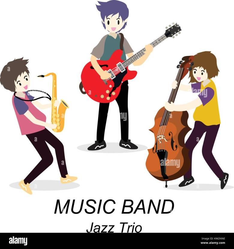 musiker jazz trio, spielen gitarre, solo gitarrist, bassist