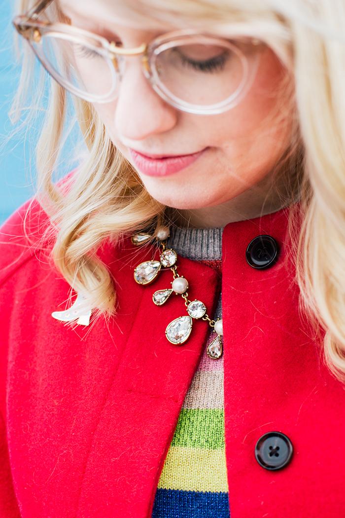 writes like a girl pink coat rainbow gap sweater10