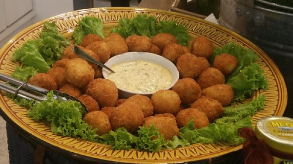 Sardines and Potato Croquettas wrapped in lettuce and tartare sauce