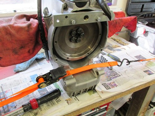 Engine Strapped To Work Bench Before Torquing Flywheel Bolts