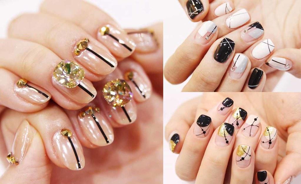 ♥ 凝膠指甲上的線條藝術!劃分指甲的創意 1