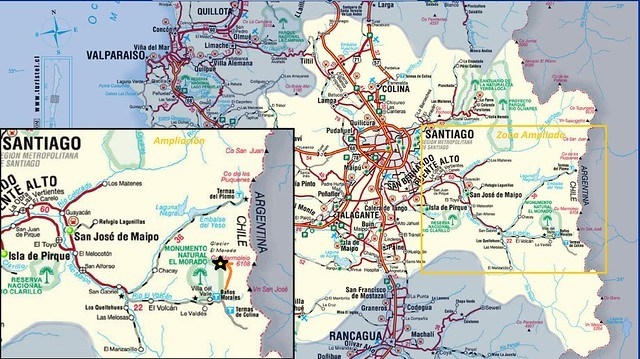 Mapa Glaciar El Morado