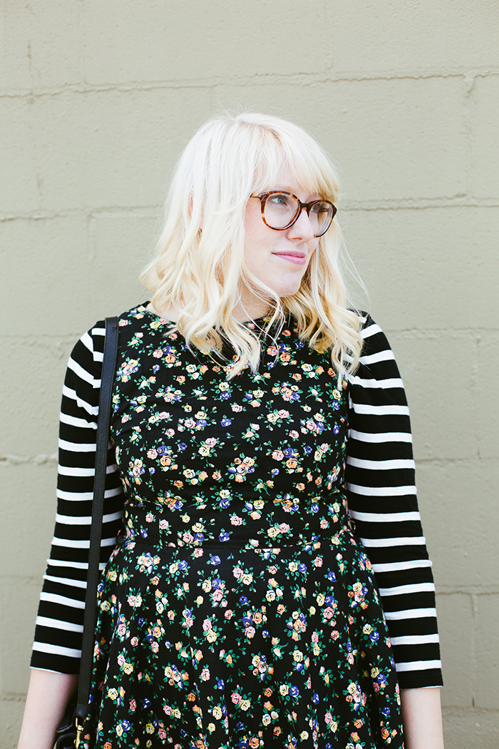 writes like a girl floral dress striped shirt10