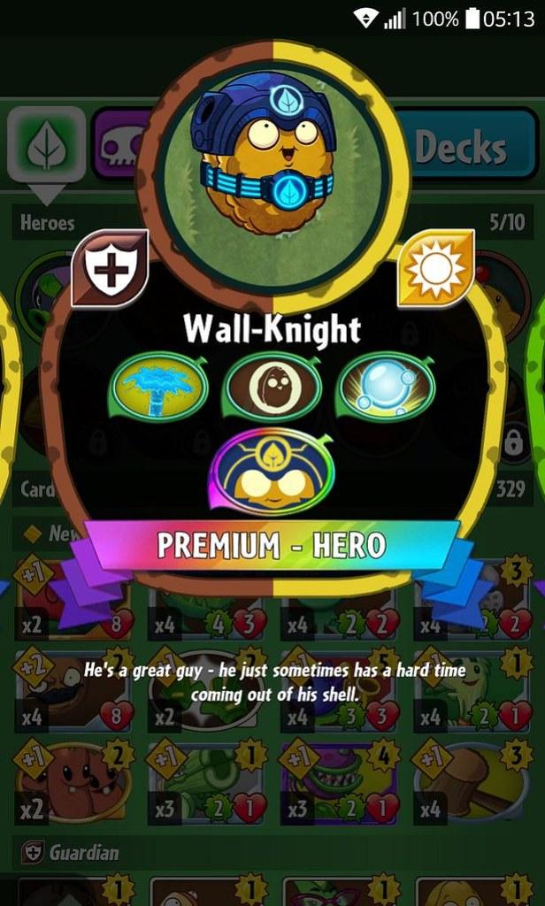 plant hero list wall knight
