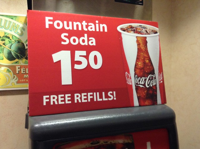 Coca Cola Soda Fountain Free Refills Sign, Childhood Obesity, Diabetes, HFCS, High Fructose Corn Syrup, Sugar, Health Issues
