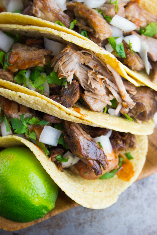 homemade carnitas tacos on www.inthiskitchen.com