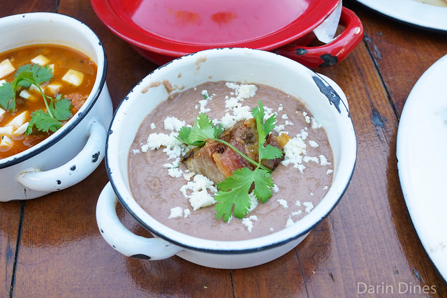 Frijoles Puercos pinto beans, pork belly two ways, queso fresco