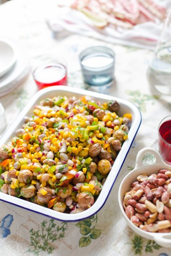 Roasted Potato and Cranberry Bean Summer Salad