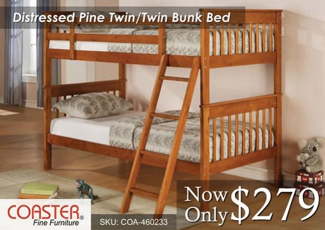 Distressed Pine Bunk Twin-Twin