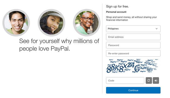 Create PayPal Account in the Philippines Step 1