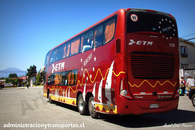 Buses ETM | Puerto Varas | Marcopolo Paradiso 1800 DD - Scania / FHGS98 - 110