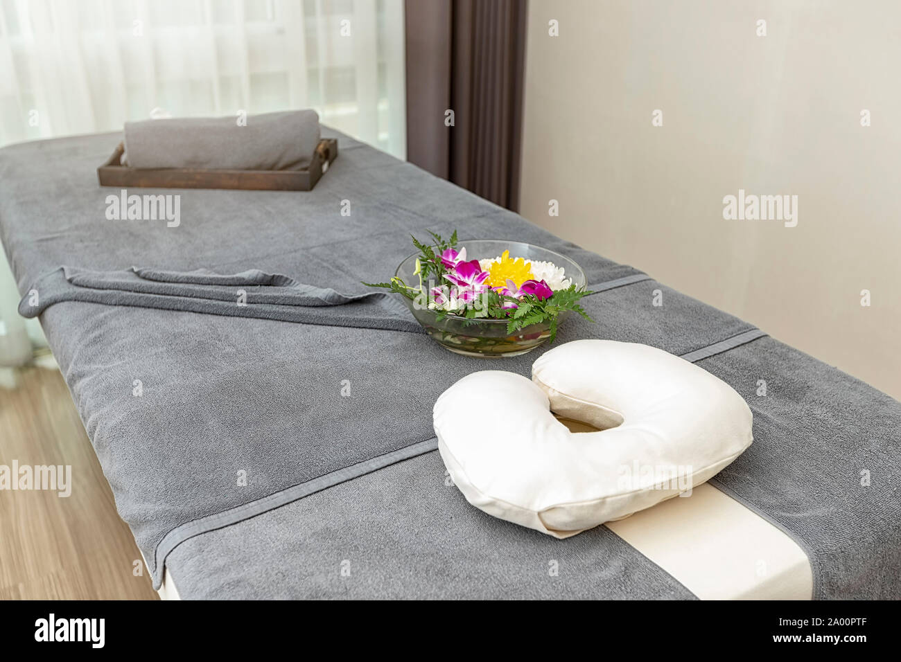 https www alamy com pillow with towel and flower on massage table in modern spa salon image327014927 html
