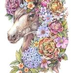 Drawing Horse In Flowers Watercolor Tattoo Art Dotwork Stock Photo Alamy