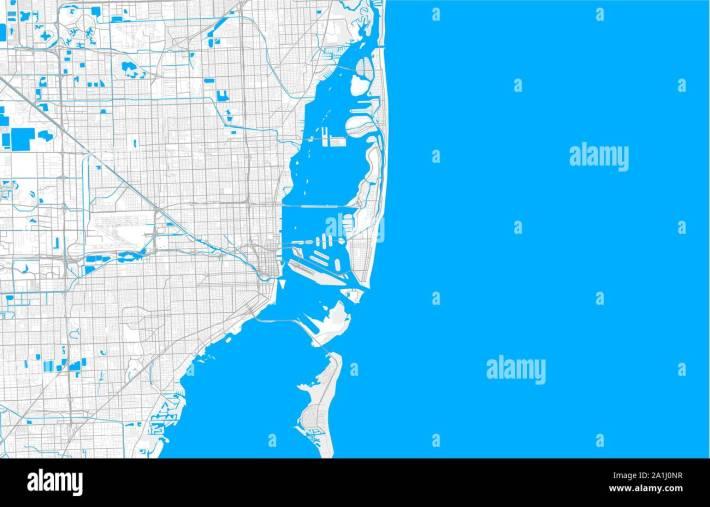 rich detailed vector area map of miami beach, florida, usa