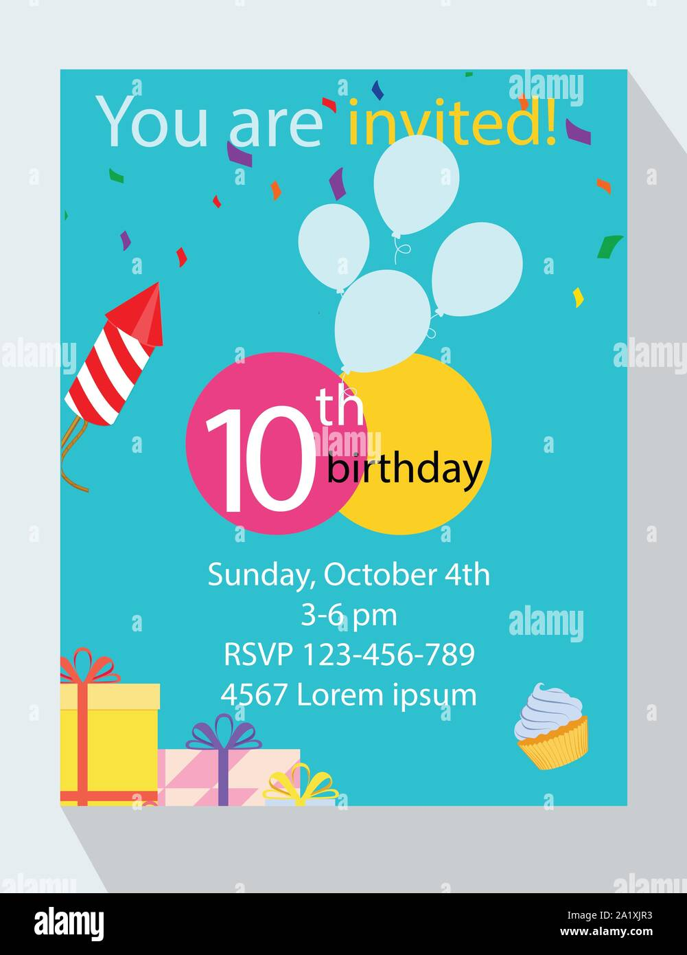 https www alamy com birthday party invitation card you are invited 10th birthday image328197159 html