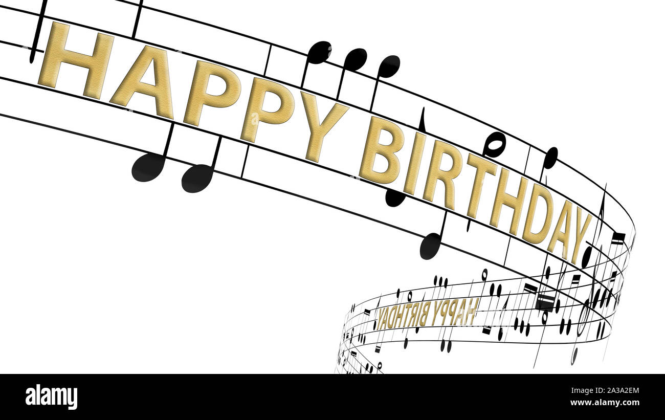 Music Notes Flowing With Message Happy Birthday In Gold Color Seamless Animation Stock Photo Alamy