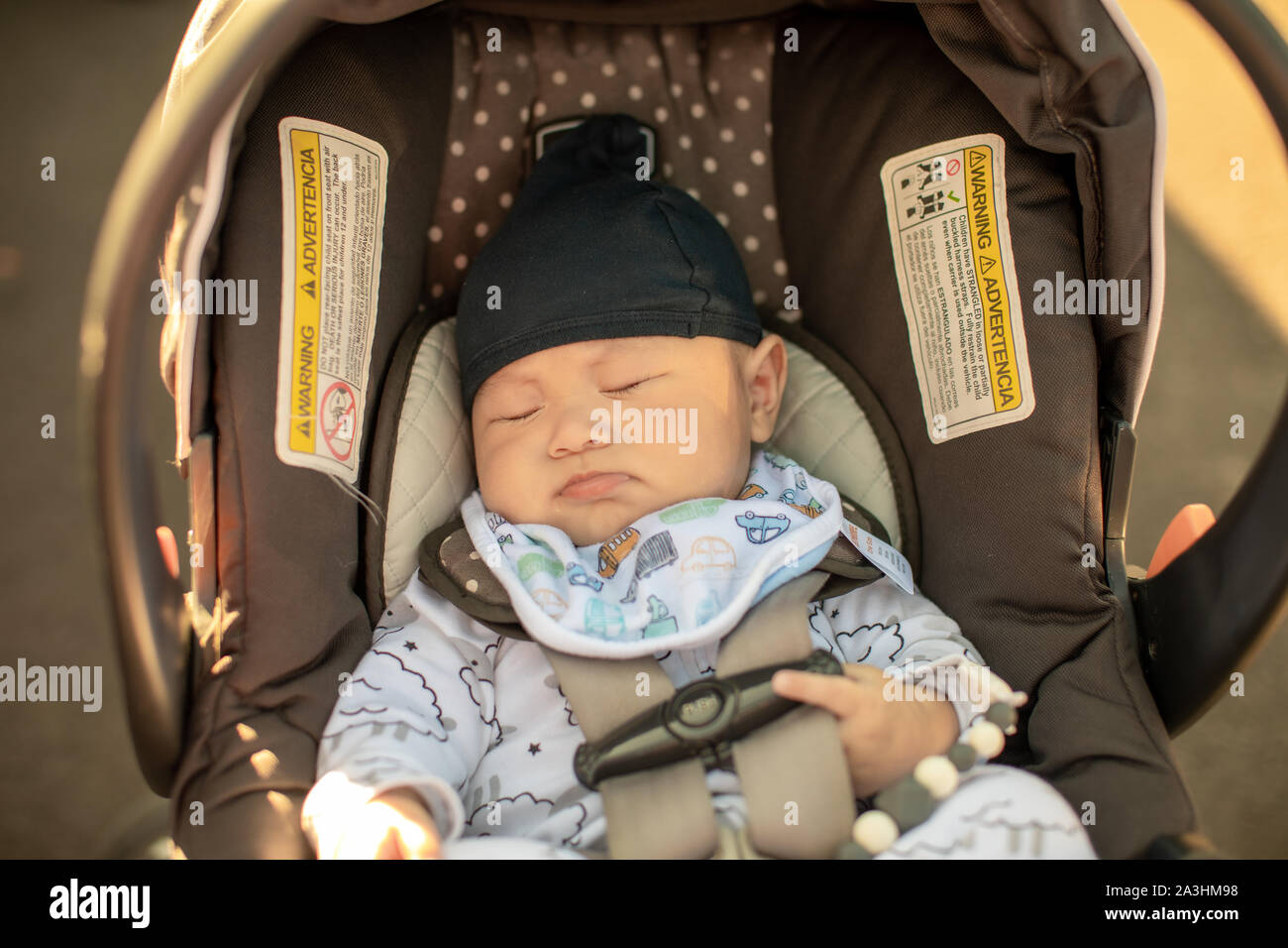 Cute Little Baby Boy Sleeping In Infant Car Seat Stock Photo Alamy