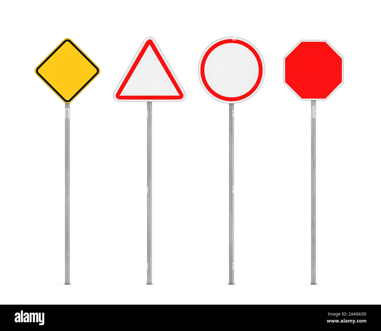 3d Rendering Of Four Blank Road Signs On Posts Isolated On The White Background Road Safety Traffic Regulations Warning Signs And Symbols Informat Stock Photo Alamy