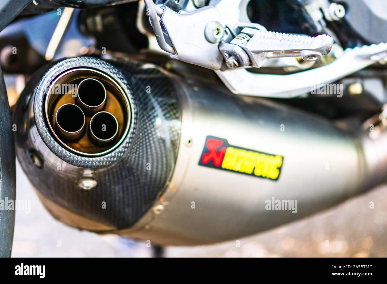 https www alamy com a close up photo of akrapovic exhaust muffler on custom motorcycle in bucharest romania 2019 image330331132 html