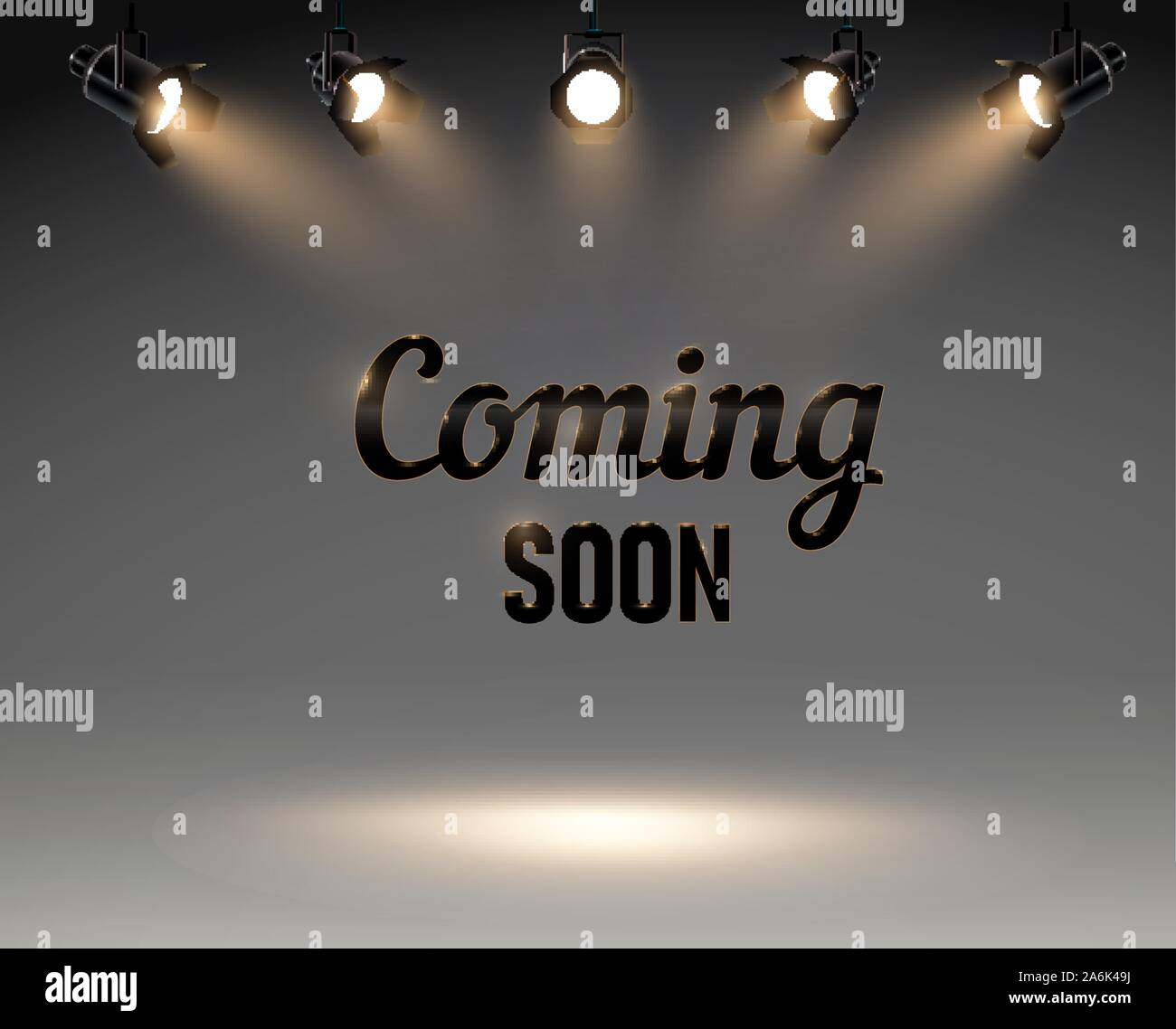 https www alamy com coming soon with spotlight in grey background studio lights sale poster ector illustration eps 10 image331105422 html