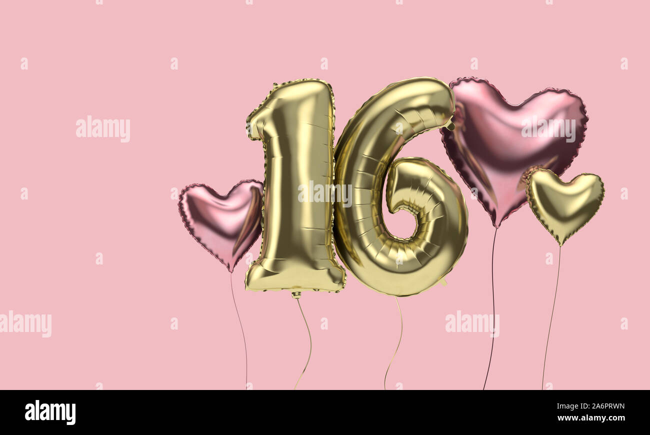 Happy 16th Birthday Party Celebration Balloons With Hearts 3d Render Stock Photo Alamy