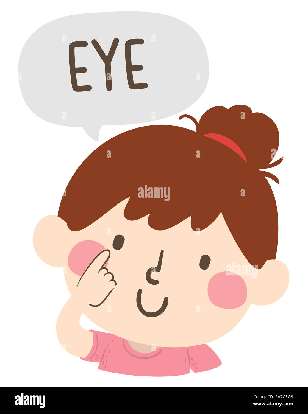 Illustration Of A Kid Girl Pointing To And Saying Eye As