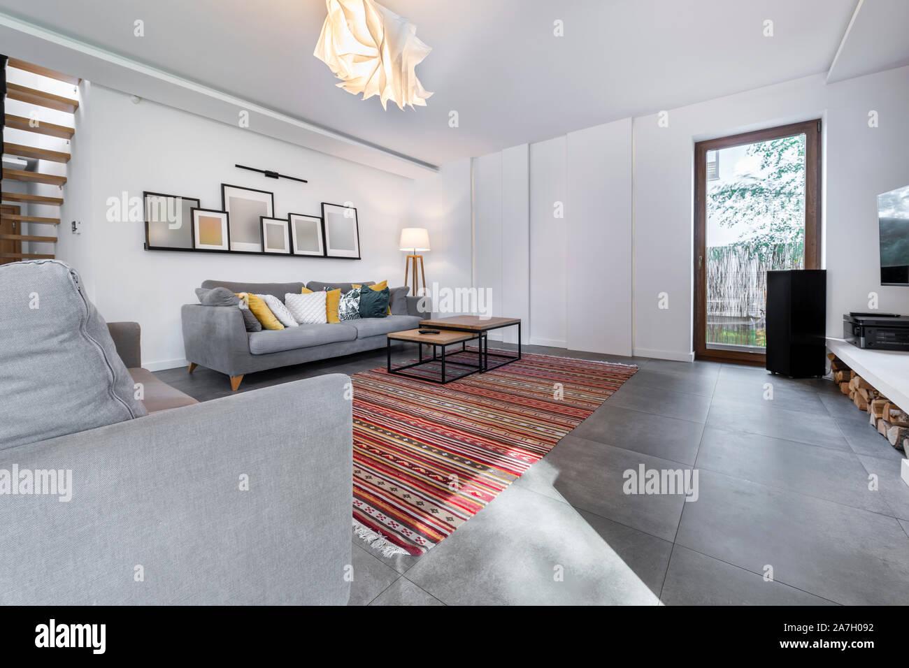 https www alamy com modern interior design livingroom with gray tile flooring image331673022 html