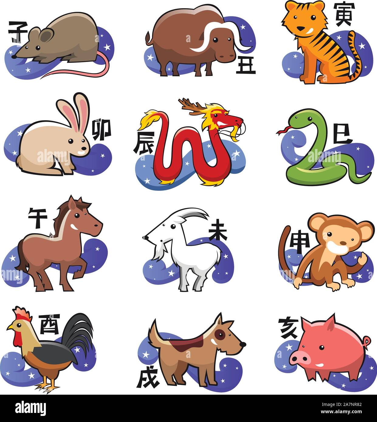 Chinese Zodiac Sign Icon Symbols Stock Vector Art