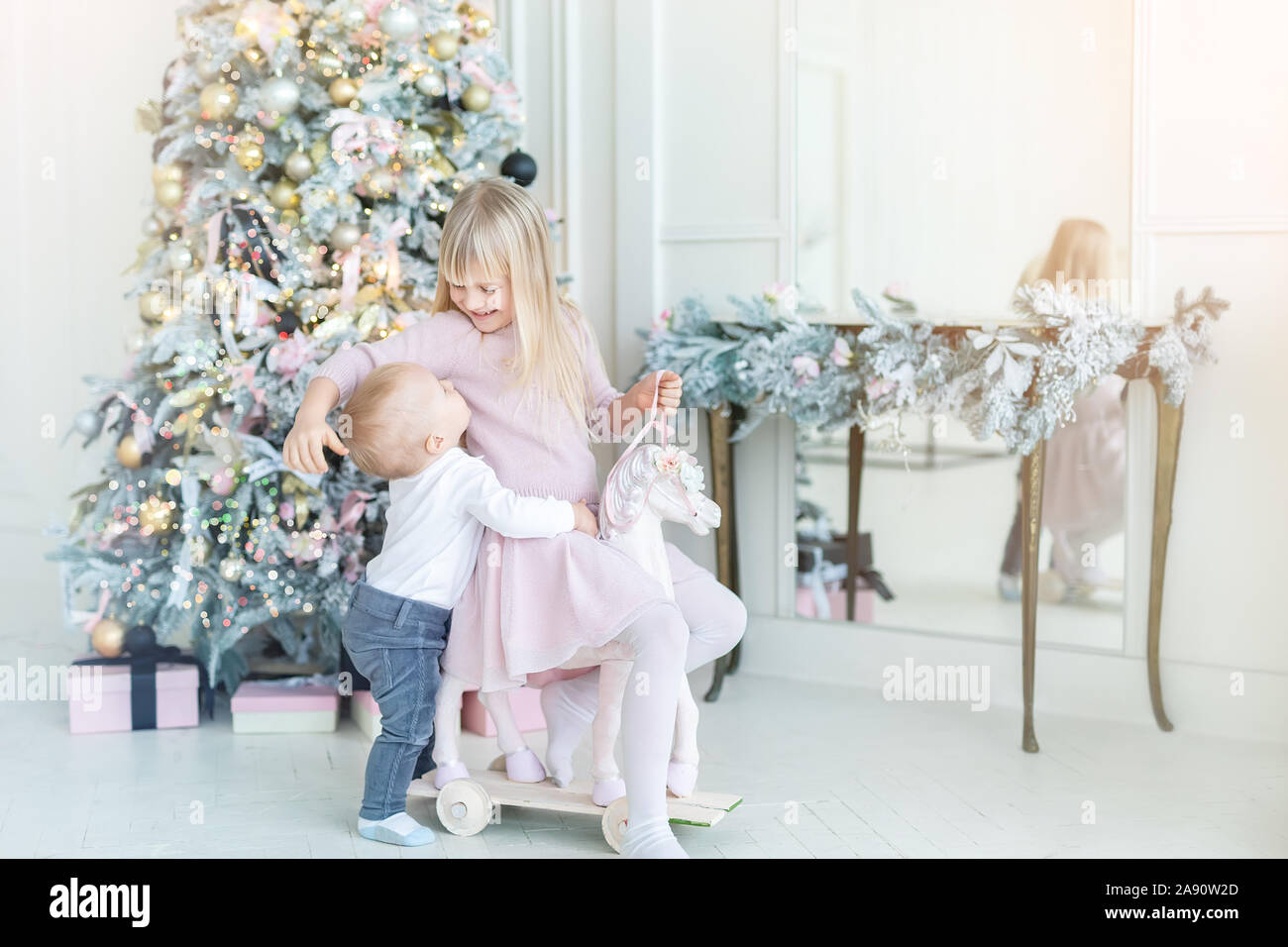 Two Cute Adorable Little Siblings Brother And Sister Having