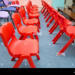 Kindergarten Class With The Red Kids Chairs Red Chairs In Montessori Kindergarten Preschool Classroom Stock Photo Alamy