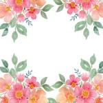 Floral Frame With Watercolor Flower Bouquet Flower Border Design For Card Or Invitation With Copy Space Stock Photo Alamy